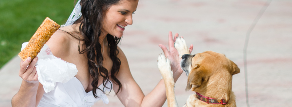Savannah giving me a high five at the wedding in exchange for her favorite bone.
