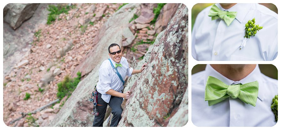 Rock Climbing Wedding Photographer - with groom rock climbing and green bow tie