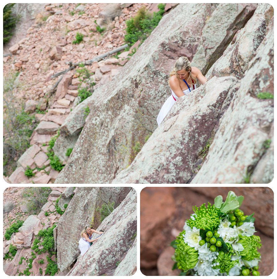 Bride Climbing at Eldorado Canyon state Park with Bouquet from Whole Foods