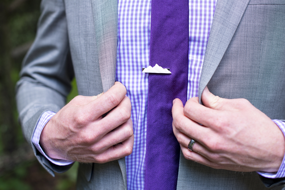 New River Gorge Rock Climbing Wedding - mountain tye pin