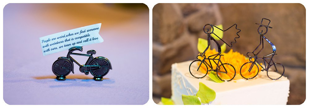 Bike wedding details at Chief Hosa Lodge