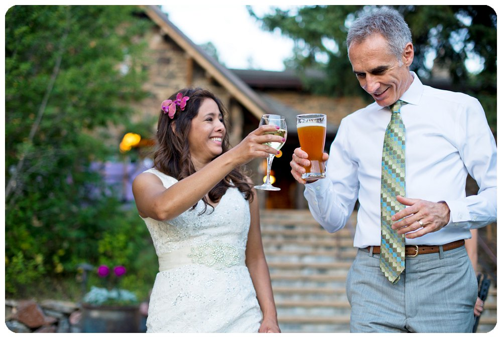 Chief Hosa Lodge Wedding Pictures - Bride and Groom toasting each other
