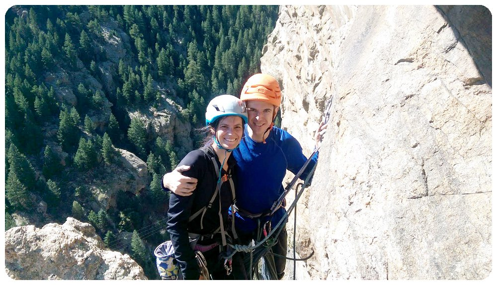 Rayna and Christian at the last belay of Playin' Hooky
