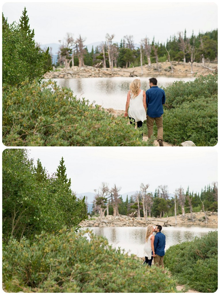 Janelle and Nick walking at Saint Mary's Glacier