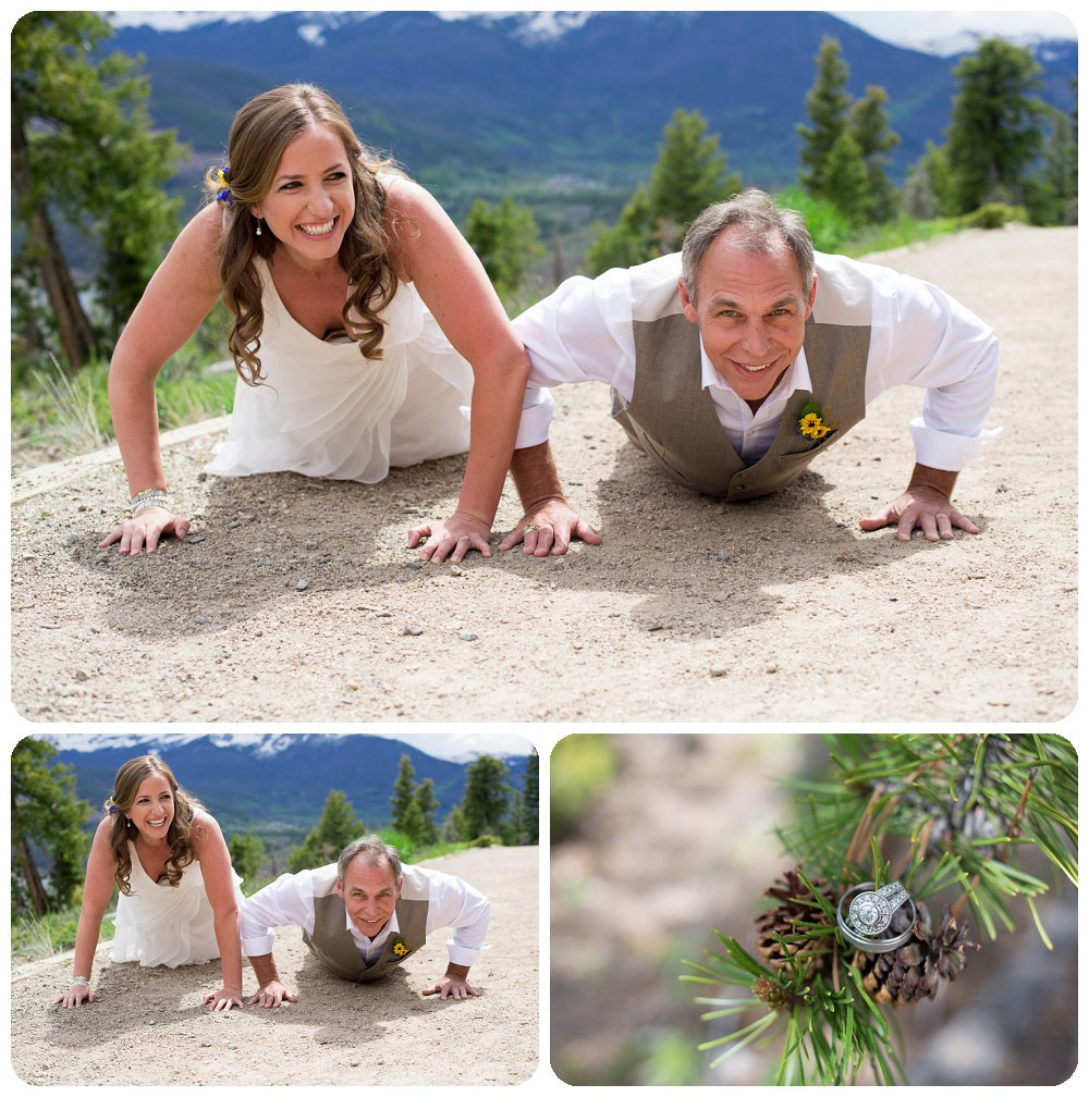 Bride and Groom Push Up Contest in Dillon, Colorado