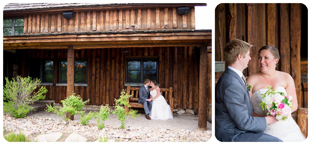 Spruce Mountain Guest Ranch Wedding Pictures of Meghan and Dane on the front porch