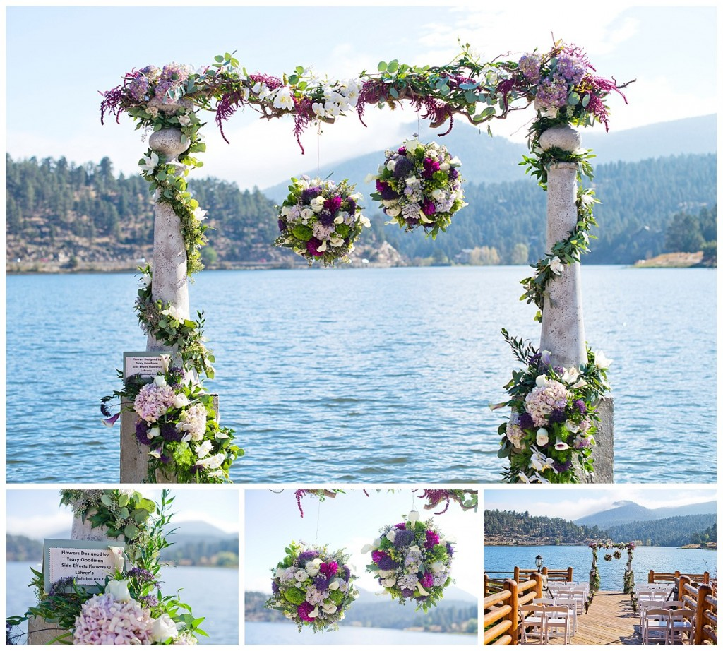 Side Effects Floral design set up a wedding ceremony site at Evergreen Lake House