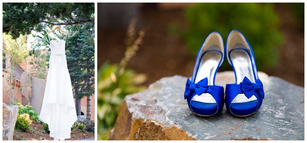 Blue bride shoes and dress at the Brittany Hill