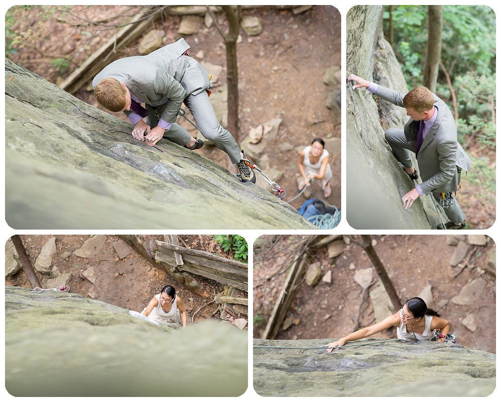 New River Gorge Wedding Photography - Rock climbing at the Bridge Buttress