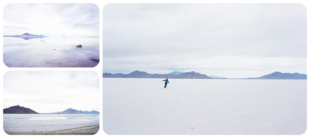 SLC Photographer Rayna McGinnis playing at the Salt Flats.