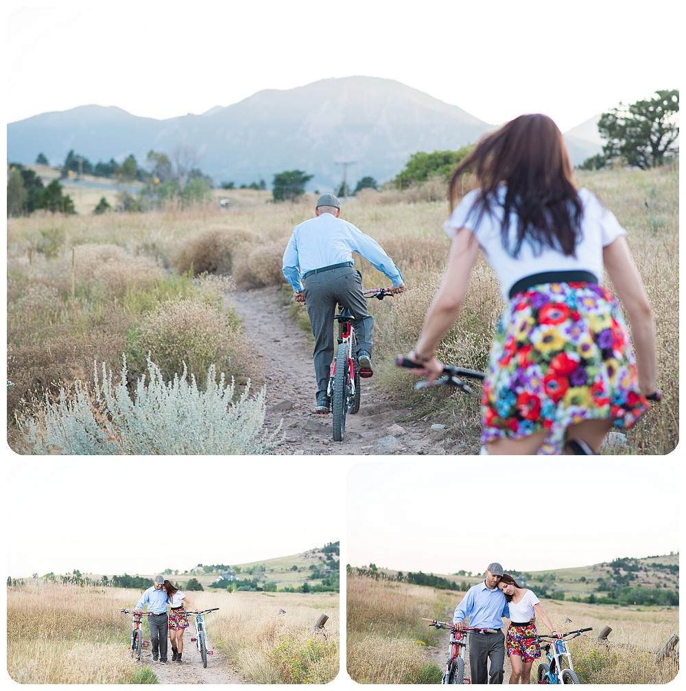 Mountain Biking Engagement photos in a dress
