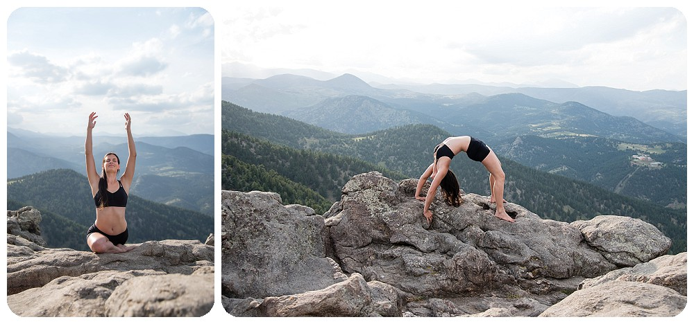 Yoga Boudoir Session by J.Mo Studios on top of Flagstaff Mountain