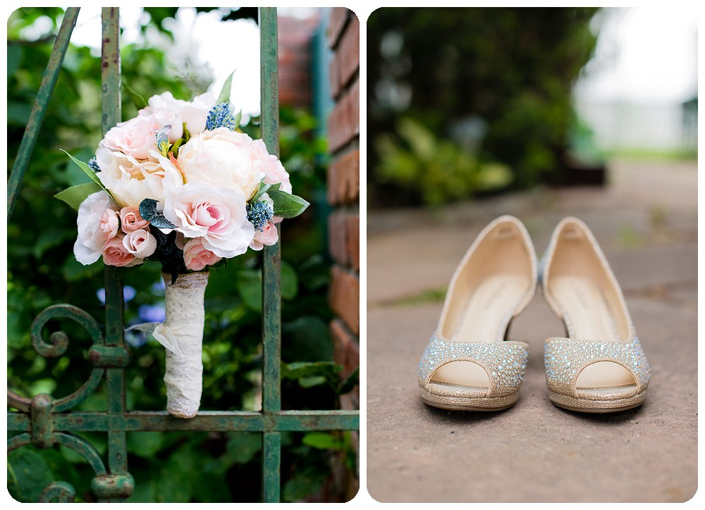 bouquet and shoes at the gatehouse at Lionsgate Event Center