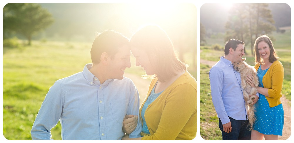 Elk Meadow Engagement Session with small dog.