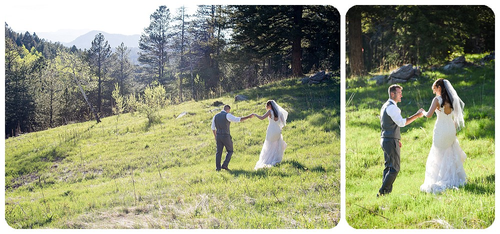 wedding photos in a field in Conifer Colorado