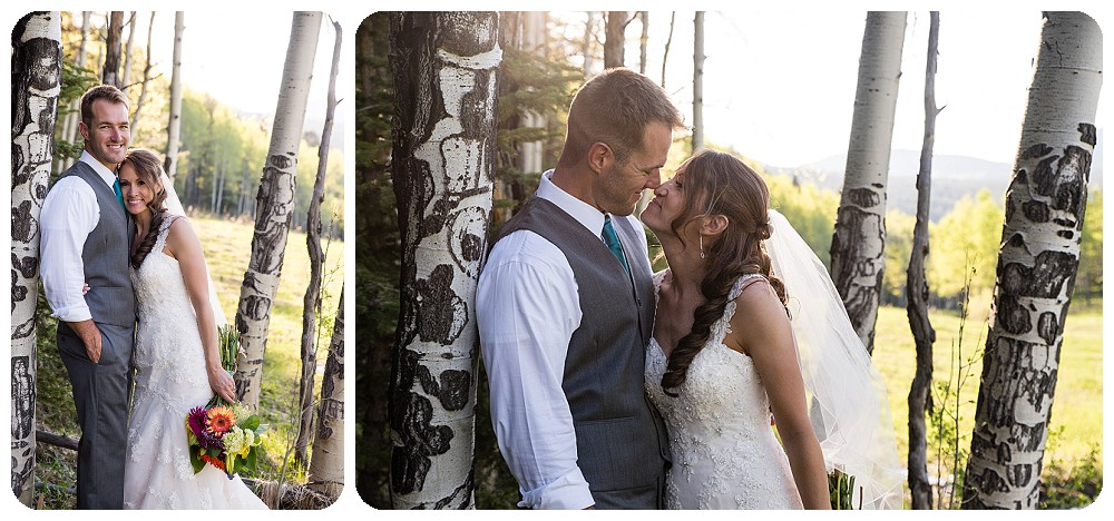 Couples photos in the aspen grove