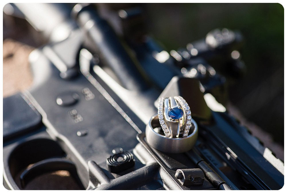 Wedding ring on gun