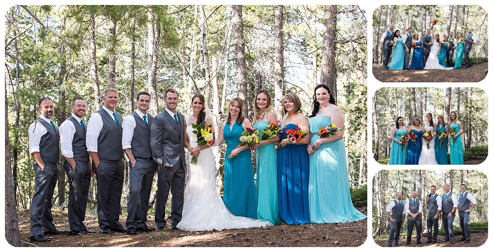 Turquoise and Grey wedding palette at conifer colorado wedding
