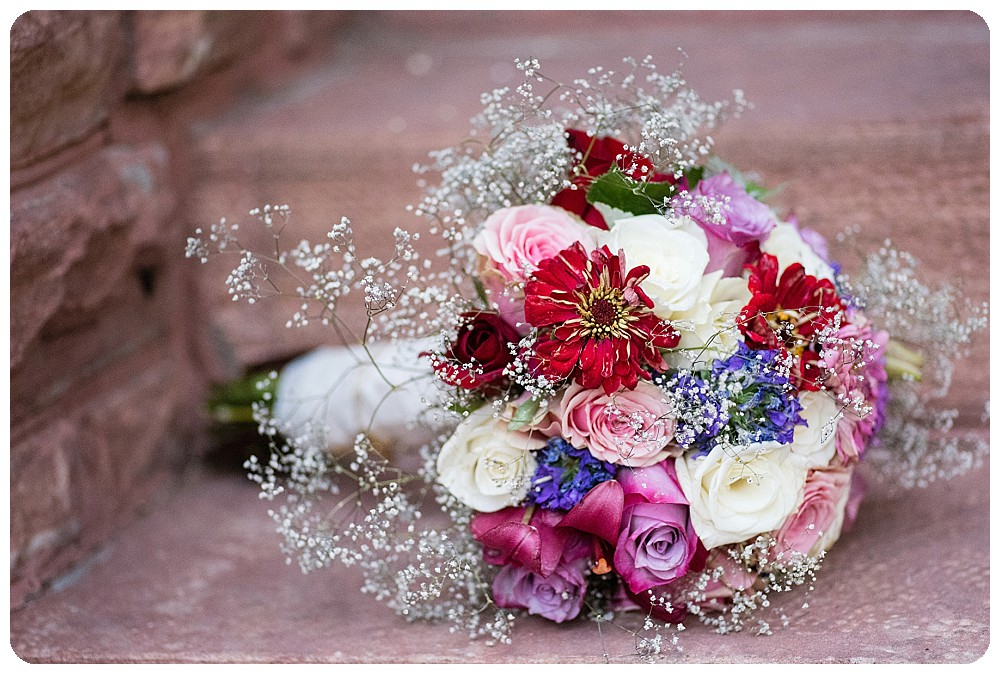 DIY Wedding bouquet in purple pink and red