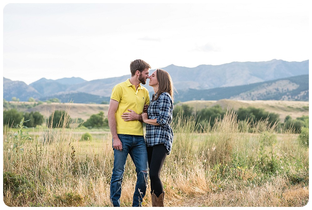 Lone Hawk Farm Engagement Pictures with mountain views