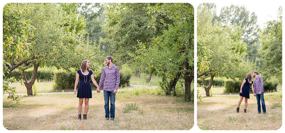 Lone Hawk Farm Engagement Pictures in Apple Orchard