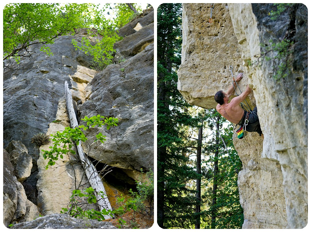Rock climbing in Spearfish Canyon, SD