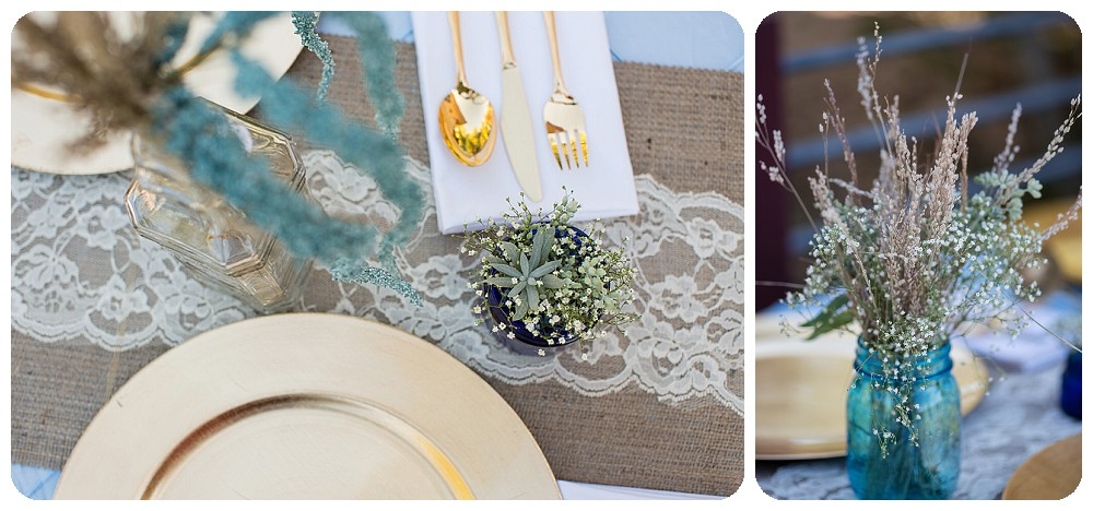 Burlap and Lace wedding decorations with succulents