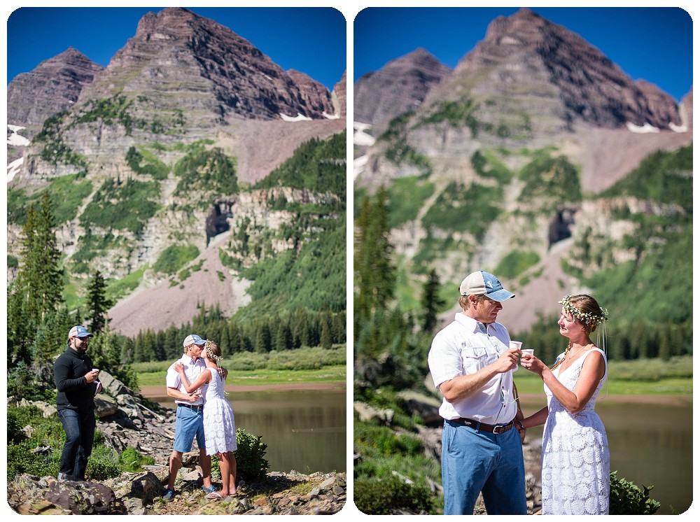 First kiss and first drink at Maroon Bells Wedding