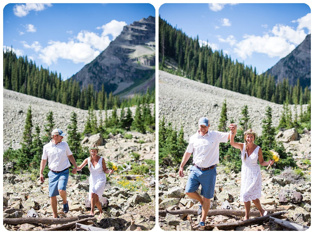 Couples portraits at Crater Lake Colorado Wedding