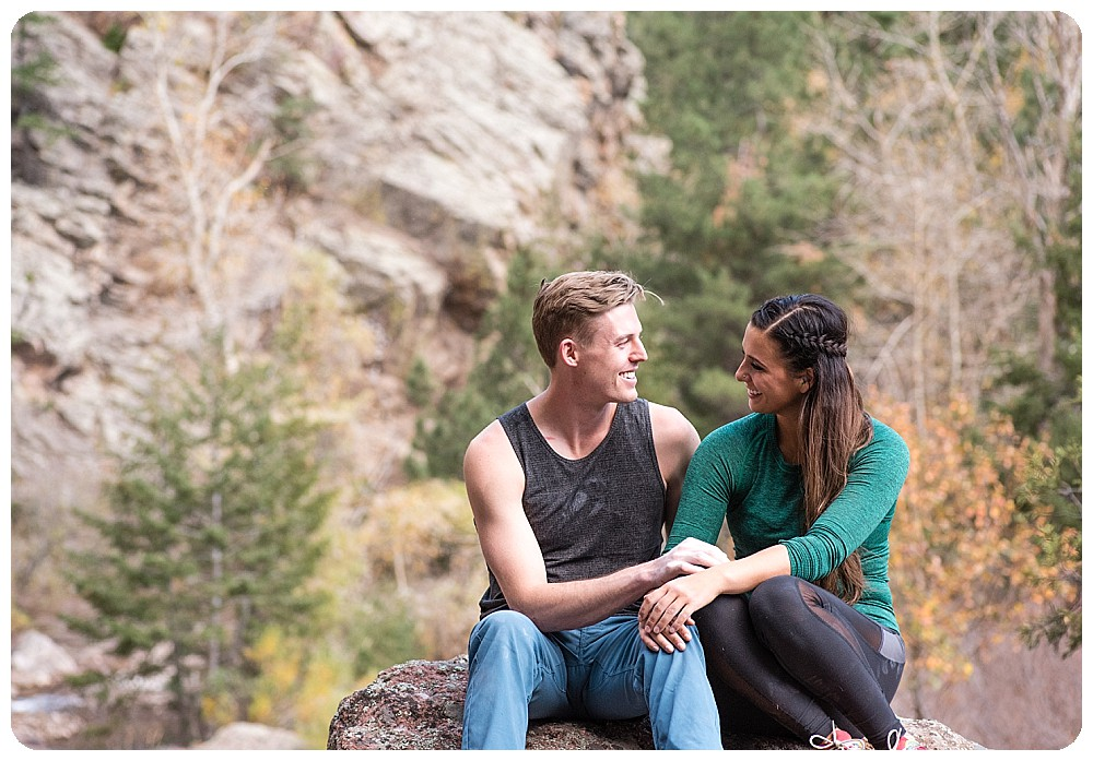 rock climbing couples session at Eldorado Canyon State Park