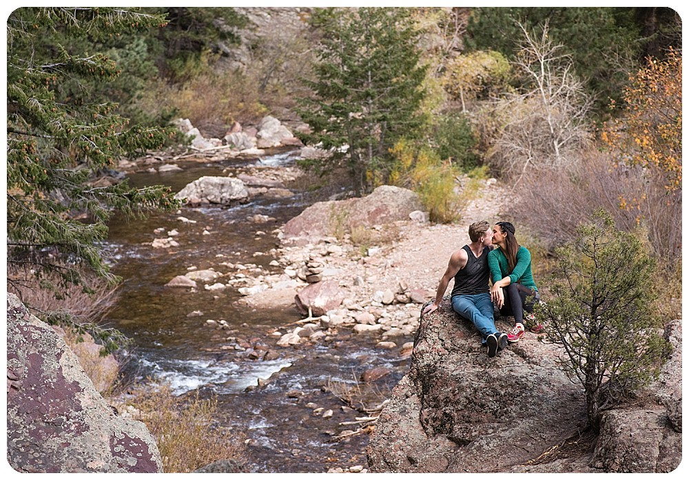 rock climbing couples session in Eldorado Canyon State Park of Boulder, Colorado
