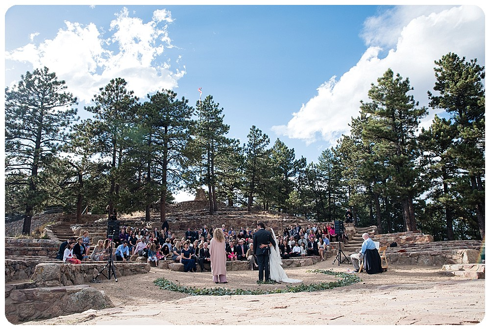 Wide Angle of a Sunrise Amphitheater Wedding