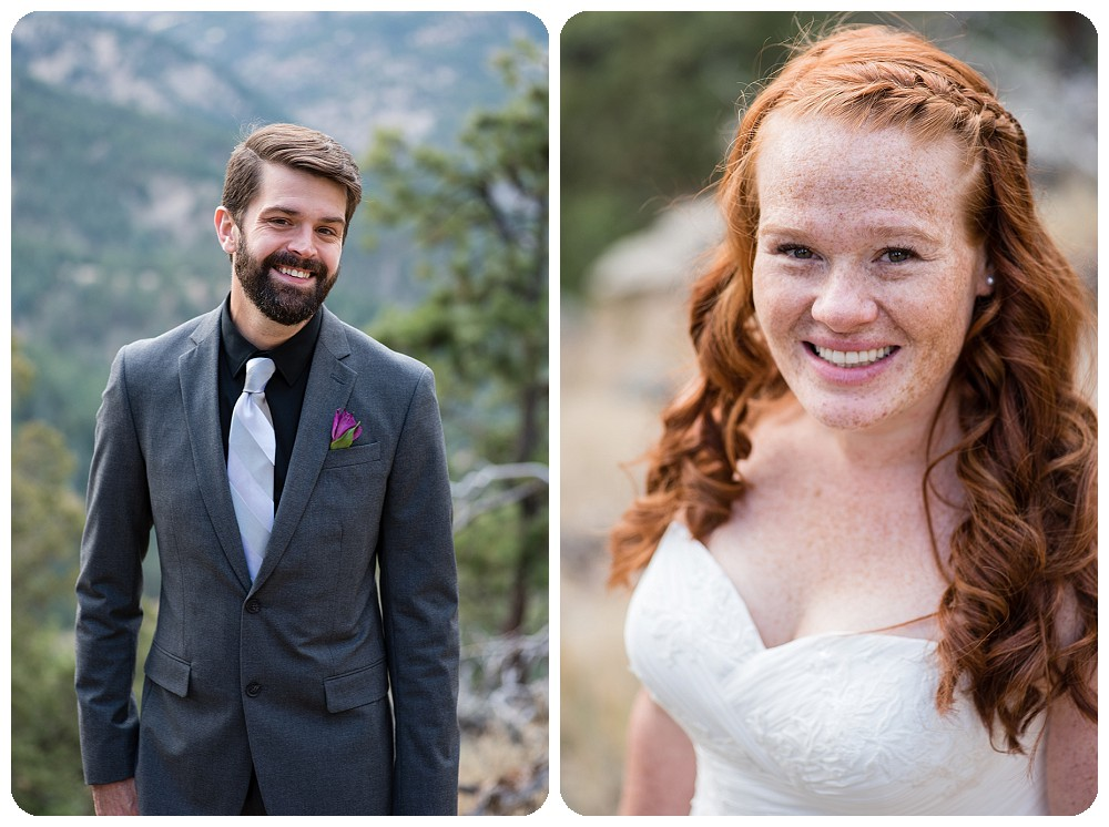 Bride and Groom Portraits at Flagstaff Mountain Elopement