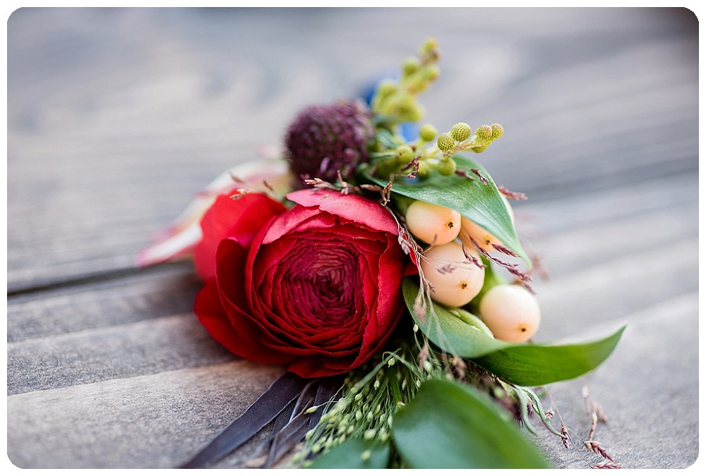 Red and Pink Boutonniere by Bella Calla