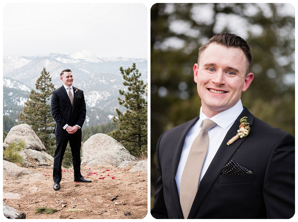 Groom at Colorado Winter Elopement