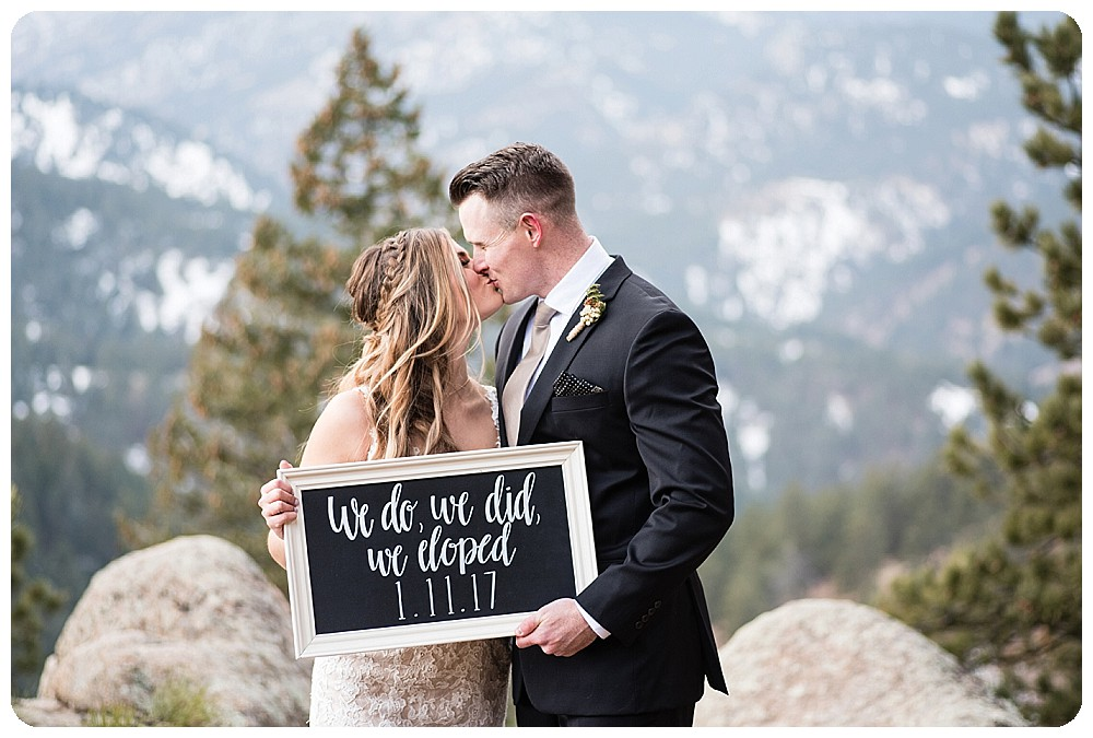 We do, We did, We Eloped sign at Boulder Elopement