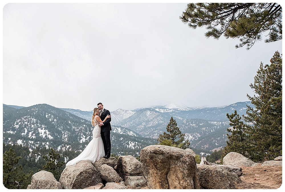 Colorado Winter Elopement on Flagstaff Mountain in Boulder