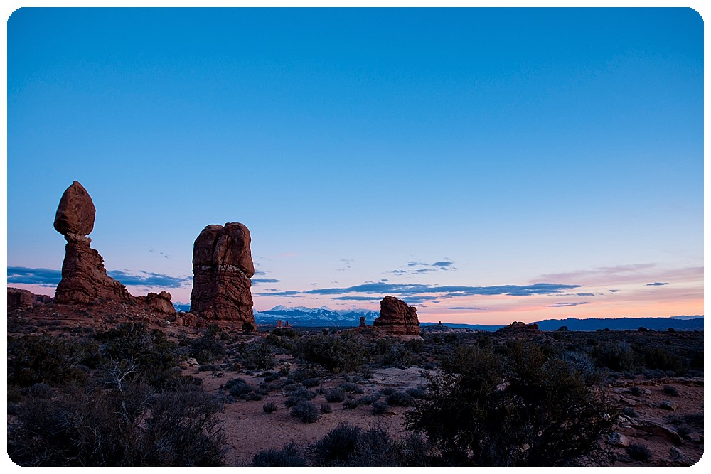 Balanced Rock at Arches National Park at sunset.