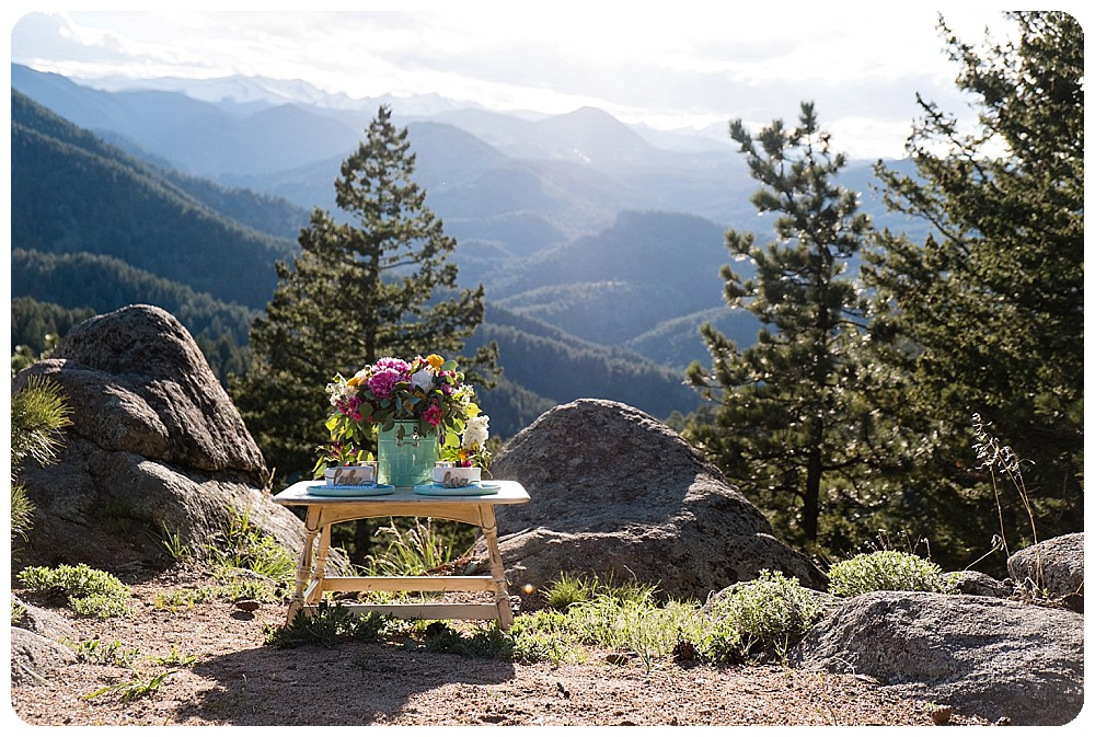 tablescape for dog elopement in the rocky mountains