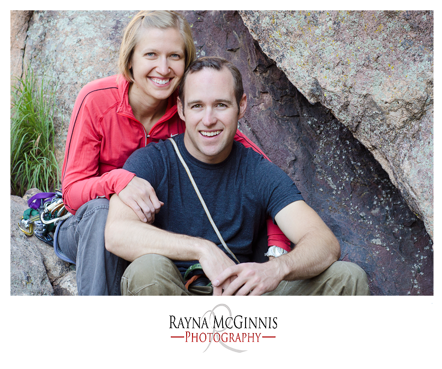 Rock Climbing Couple's Session on the belay ledge above the Bomb at Eldo
