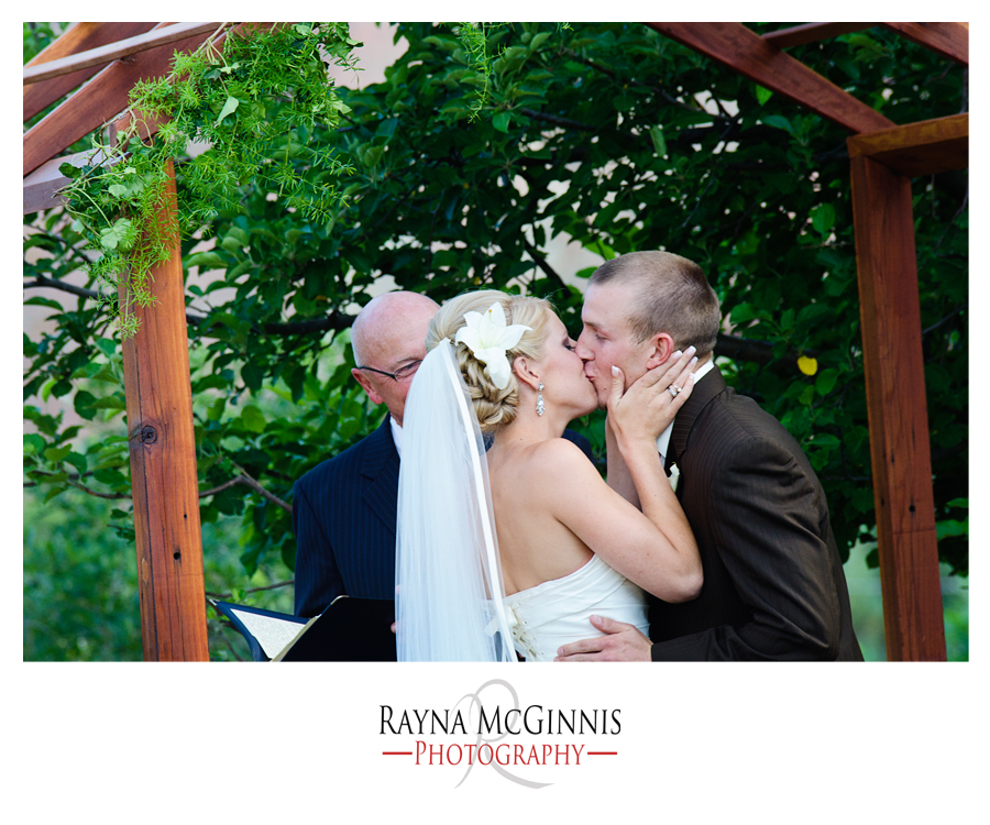 First Kiss at Backyard Wedding in Littleton