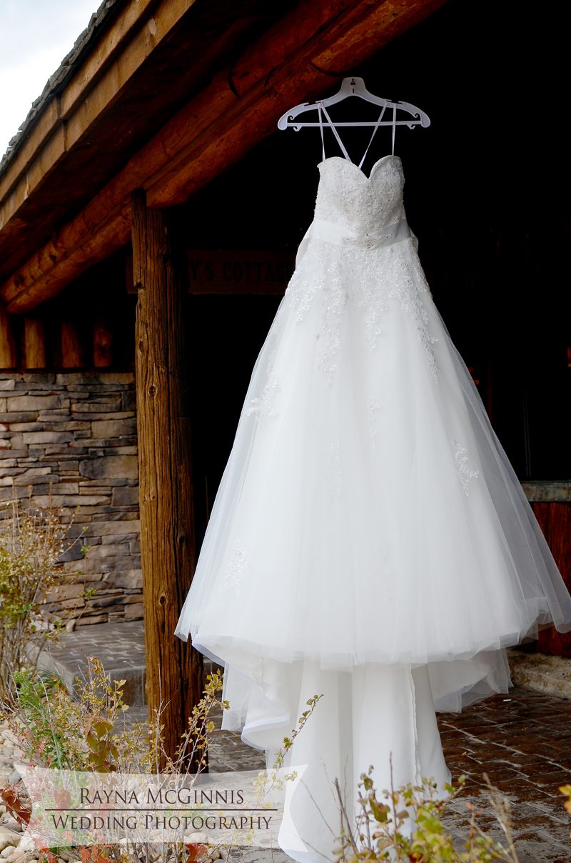 Wedding Dress hanging at Spruce Mountain Guest Ranch