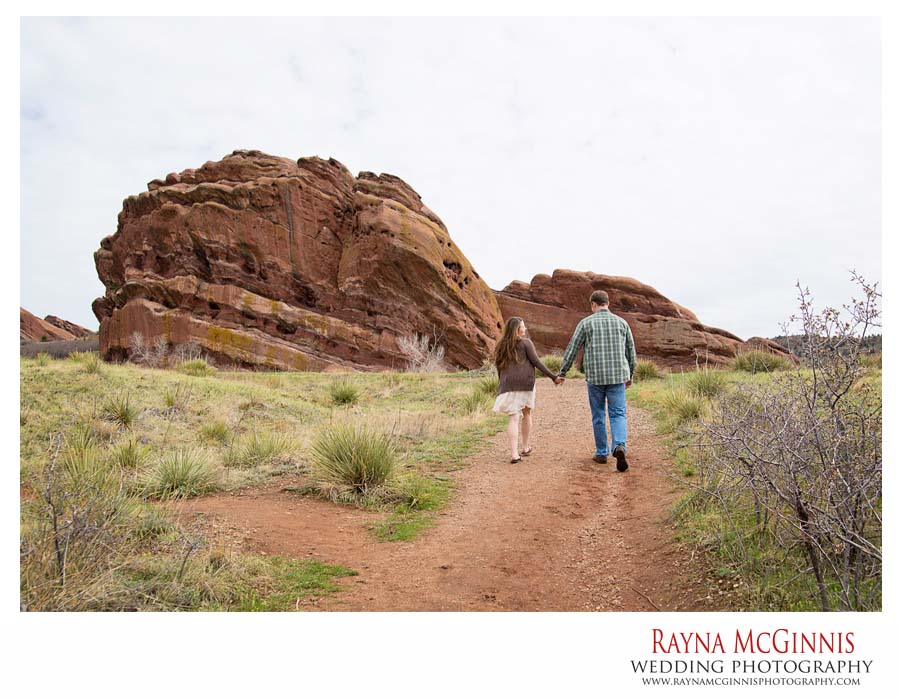 Golden Engagement Photography on trail in red rocks park