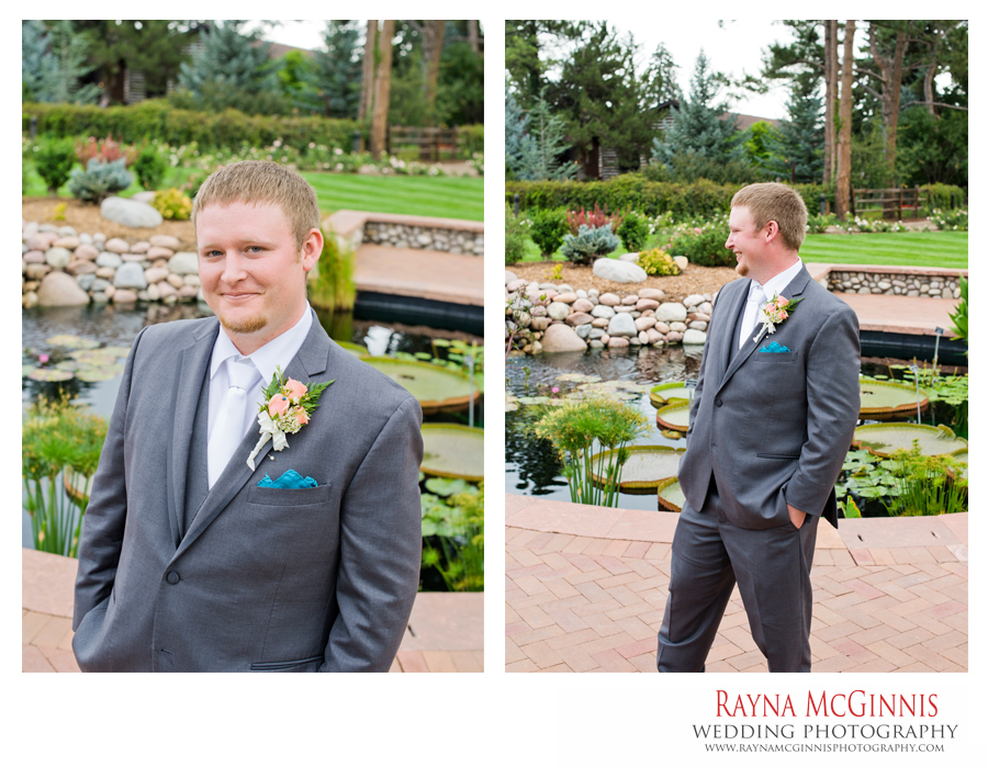 Groom portraits at the Lily Pad in Hudson Gardens