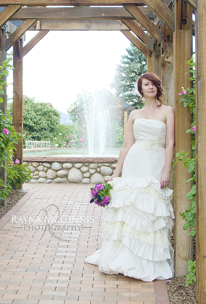 Portrait of a bride at the Rose Garden at her Hudson Gardens Wedding