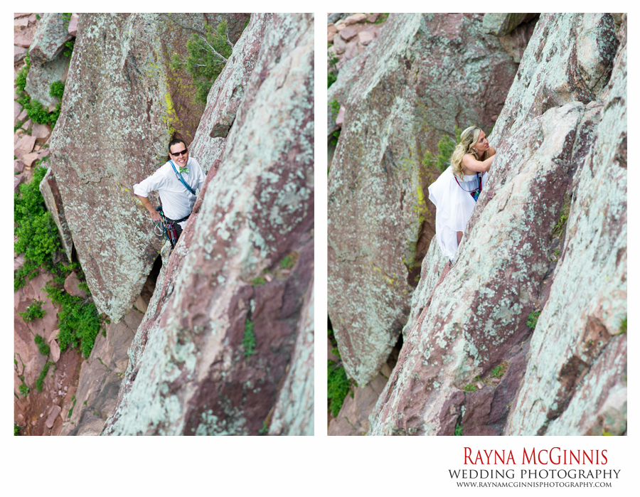 Eldorado Canyon State Park Wedding - Bride and Groom Climbing the Bomb on Wind Tower