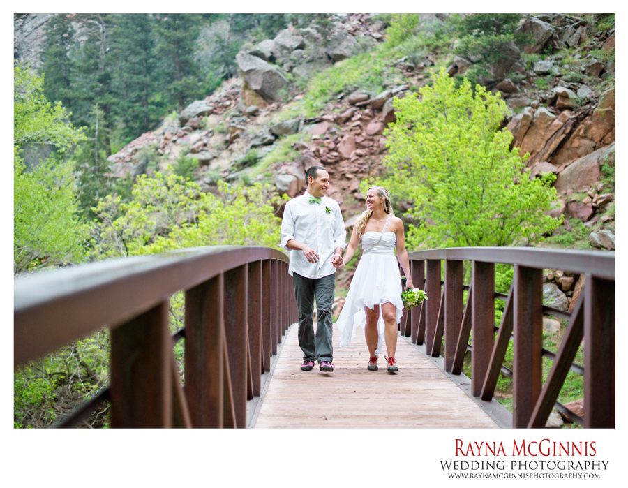 Eldorado Canyon State Park Wedding - crossing the bridge
