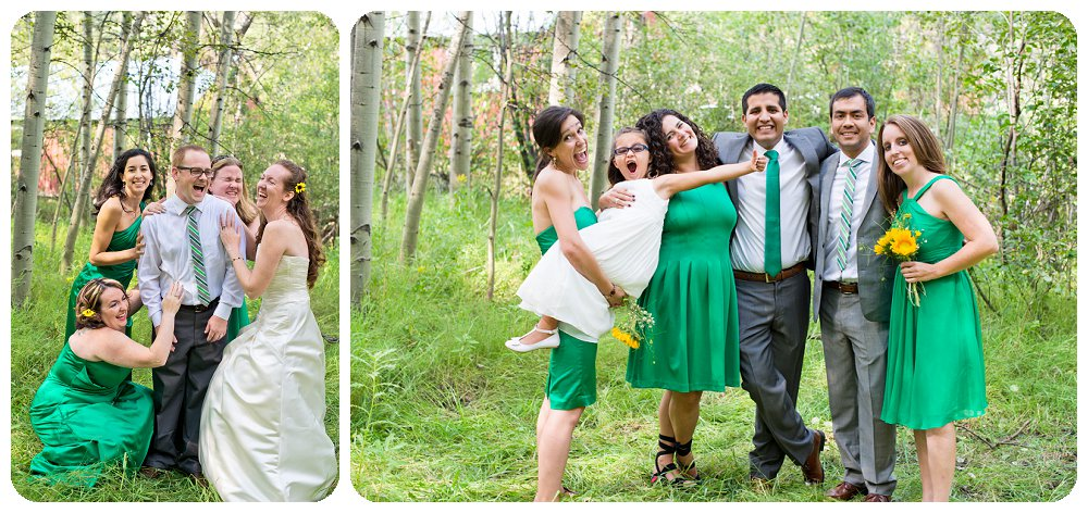 Super fun bridal party at Golden Gate Canyon State Park Wedding
