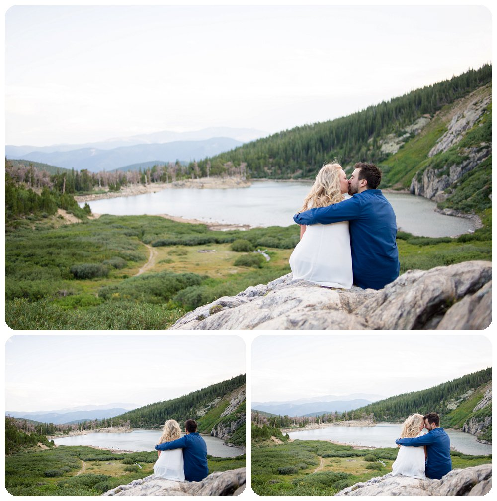 St Marys Glacier Engagement Session - Janelle and Nick looking out on the lake