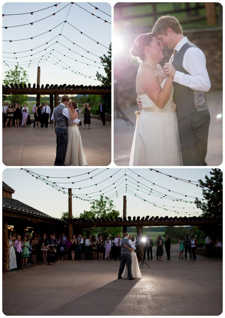 Spruce Mountain Guest Ranch Wedding Pictures - First dance on Elbert's Lodge Patio.